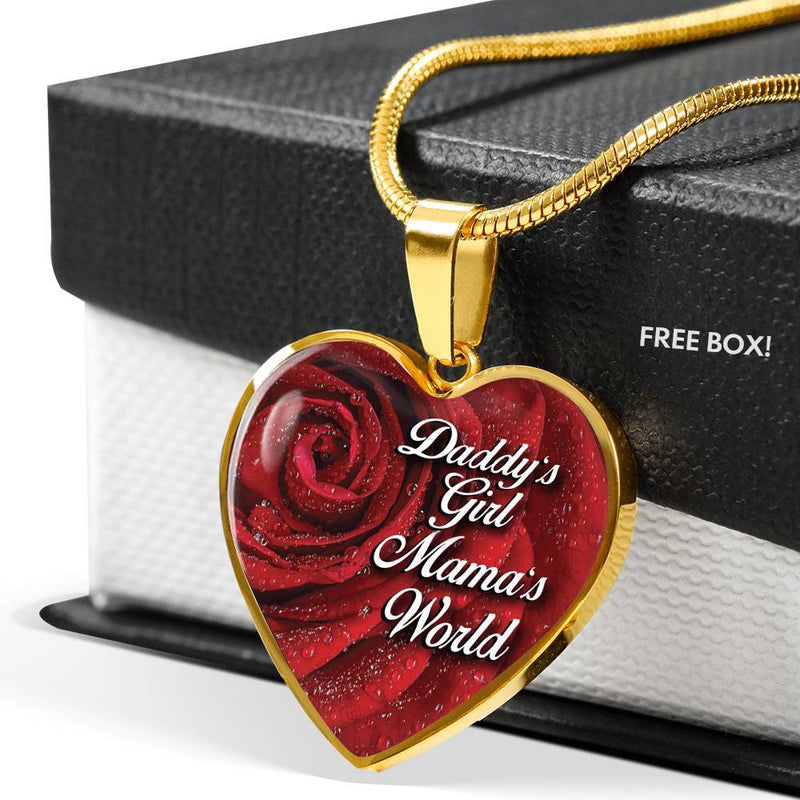 Daddy's Girl, Mama's World - Stainless Heart Necklace