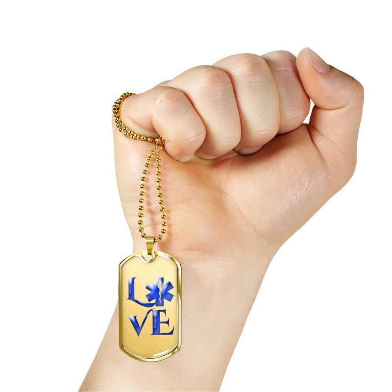 EMT Love - Gold Dog Tag