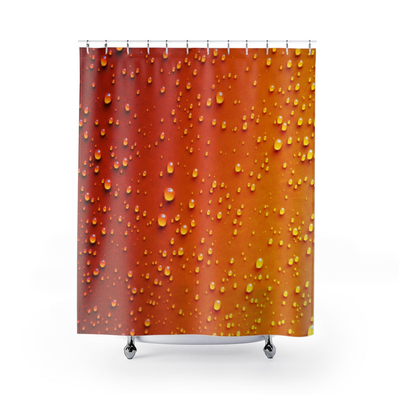 Designer Shower Curtain; Orange Water Beads