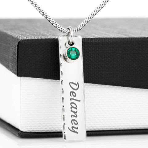 Personalized Engraved Name Plate Necklace with Birthstone on Snake Chain by Zena Minx