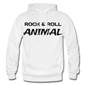 Rock & Roll Animal Heavy Blend Adult Hoodie - white