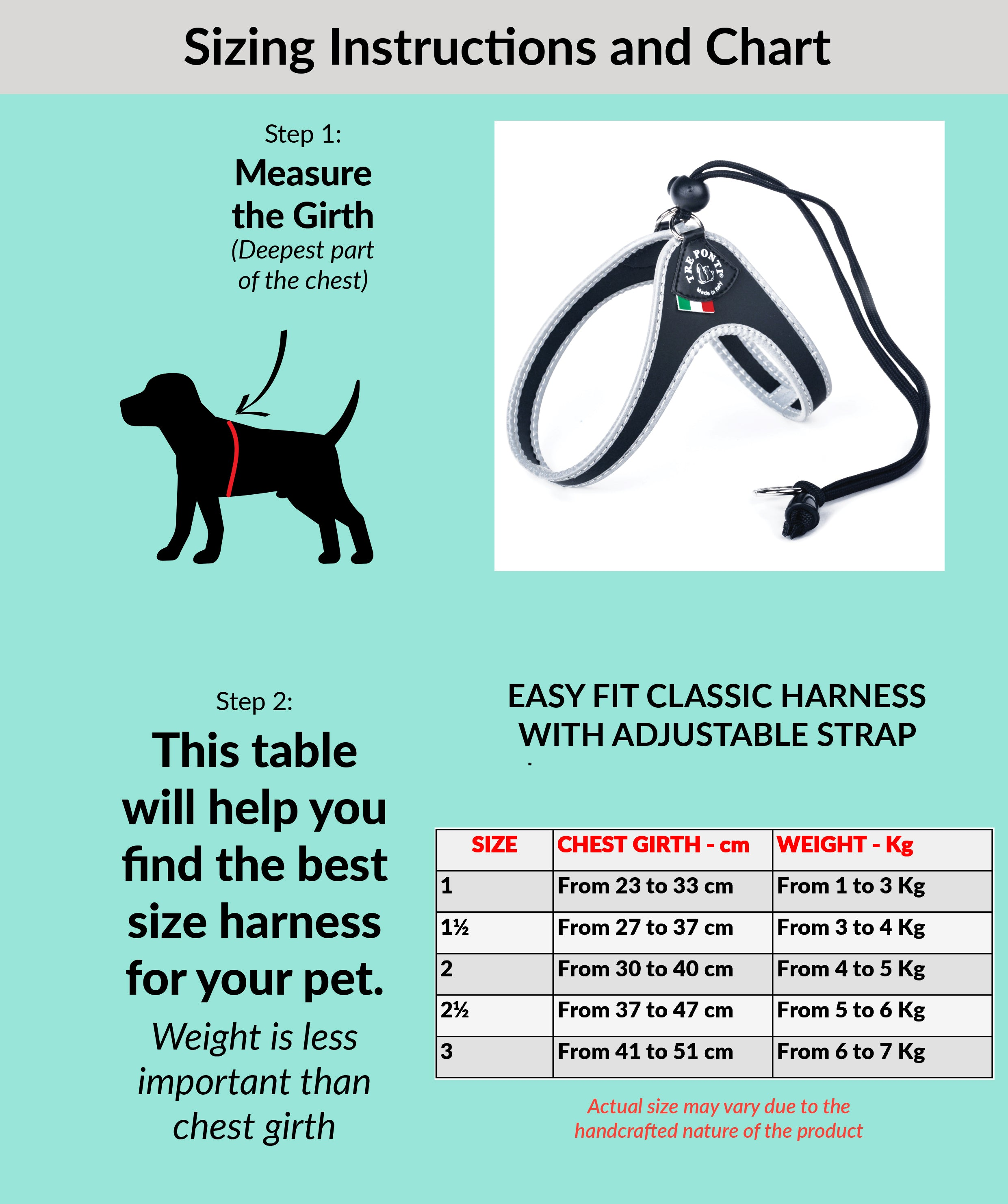 Easy Fit Classic Harness With Adjustable Strap Size Chart