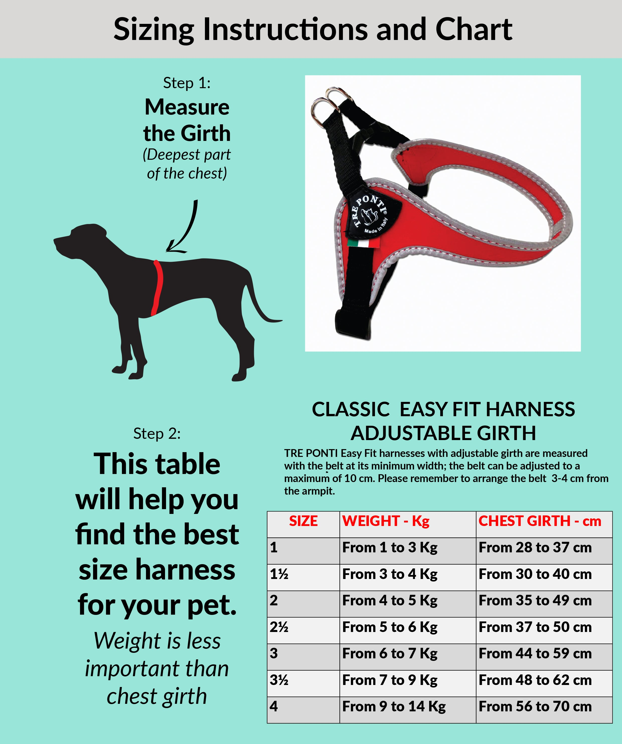 The Easy Fit Harness With Adjustable Girth By Tre Ponti
