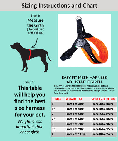 Easy Fit Mesh Harness Adjustable Girth Size Chart