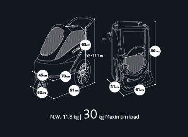 Sporty Pet Stroller (and Bike Trailer!) by Innopet Size Guide IPS-050AT IPS-055AT IPS-056AT
