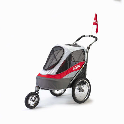 Innopet Sporty Dog Stroller (and Dog Bike Trailer!) - Red & Grey - Free Rain Cover