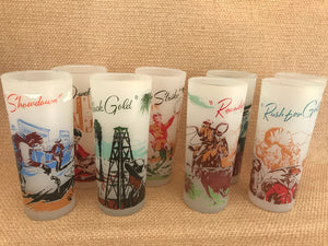 Vintage American West Long Drink Glasses - Set 8