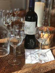 Vintage Etched Wine Glasses - Set 6