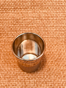 "Vintage Silver ""Just A Thimbleful"" Jigger"