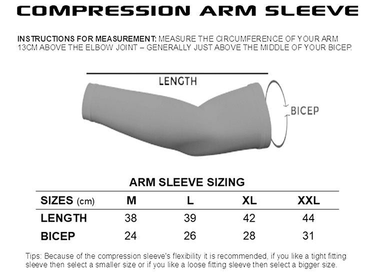 compression-sleeve-hot hitters-size-guide