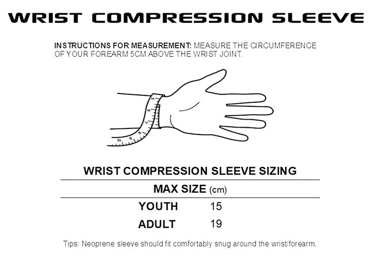 wrist compression sleeve hot hitters size guide strap