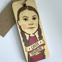 Load image into Gallery viewer, wooden keyring featuring illustration of Greta Thunberg