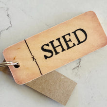 Load image into Gallery viewer, Rustic wooden keyring saying 'Shed'