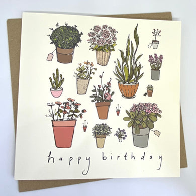 Square card with hand drawn illustrations of plants scattered all over on an off white background. Saying 'happy birthday'