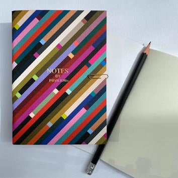 A6 small notebook with striking bright diagonal design with text 'NOTES BY PAVILION'