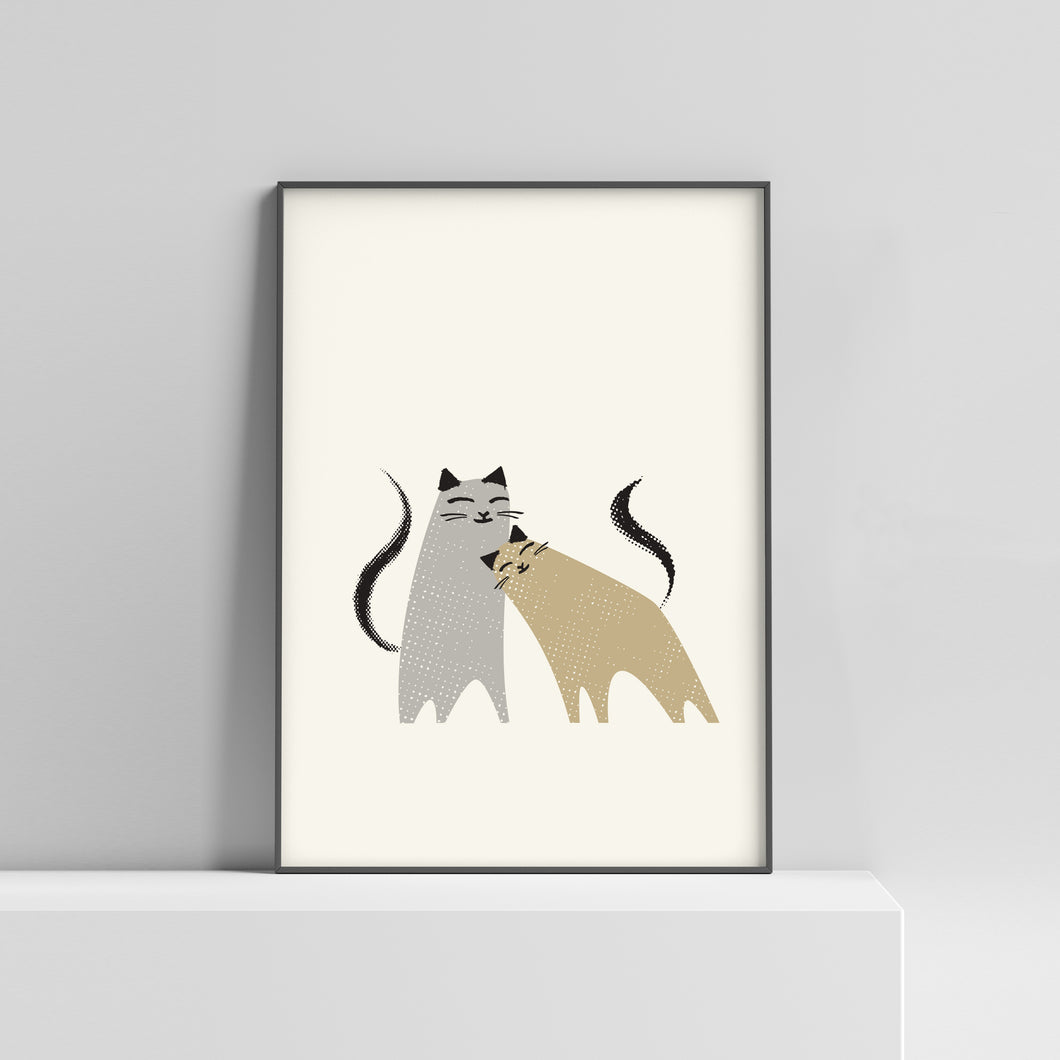 Two cats loving each other in an A4 sized  print