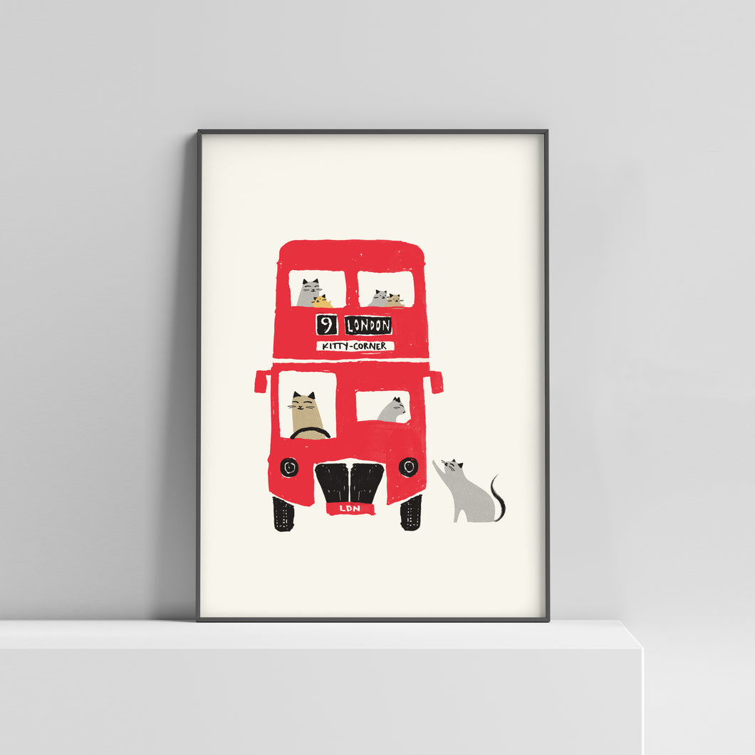 Cats on a London bus, destination kitty corner