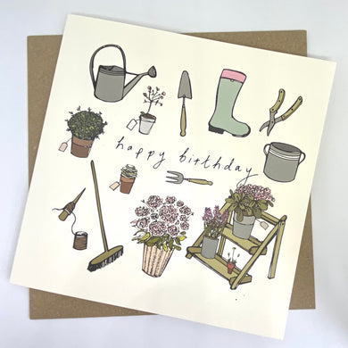 Photo of square happy birthday card. Hand drawn style featuring Various gardening utensils, plants etc on an off white background