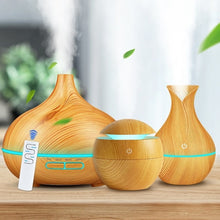 Load image into Gallery viewer, 3-Piece Set White Wood Grain Air Humidifier Aroma Essential Oil Diffuser Ultrasonic Cool Mist Purifier 7 Color Change LED Night