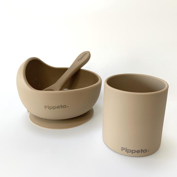 Pipetta Suction Bowl and Spoon - Taupe