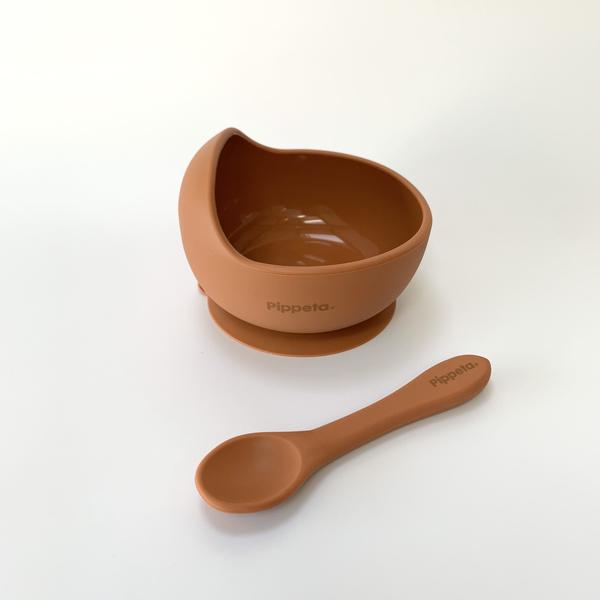 Pipetta Suction Bowl and Spoon in Pumpkin