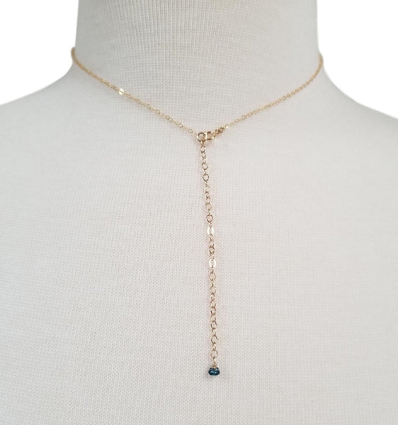 Necklace w/ London Blue Topaz & Gold Filled Chain
