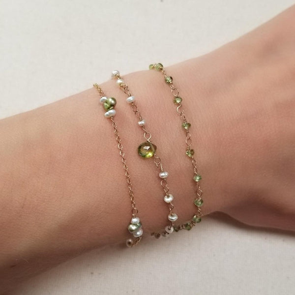 Triple Strand Peridot Bracelet with Green Freshwater Pearls and Gold-filled Chain