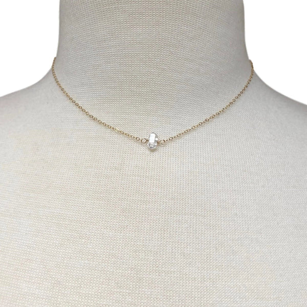 Tan-lines Herkimer Diamond Choker Necklace on Gold Filled Chain