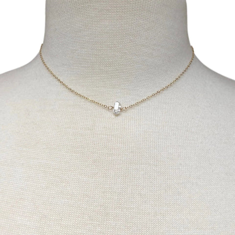 Herkimer Diamond Choker Necklace on Gold Filled Chain