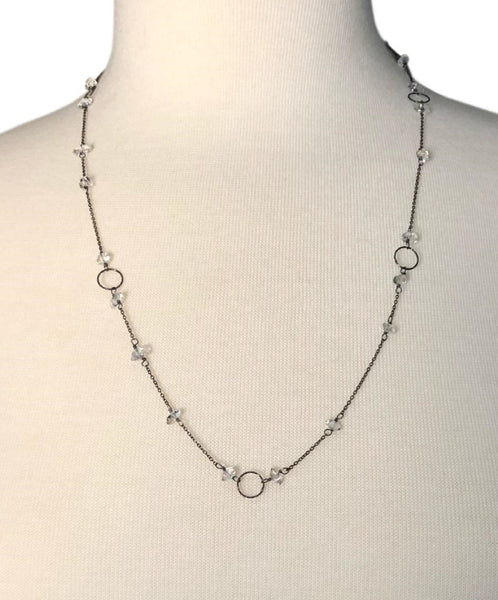 Herkimer Diamond Sautoir with Oxidized Silver Chain