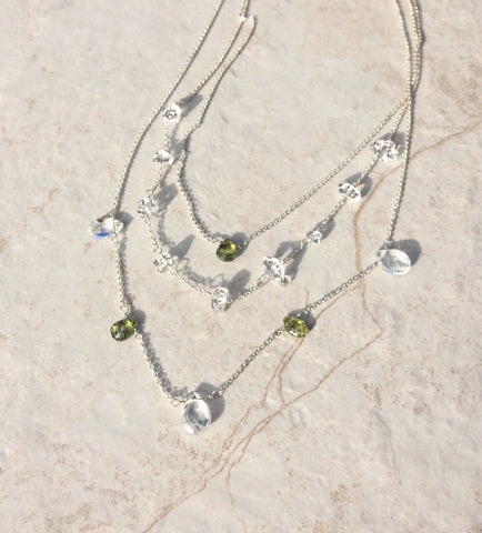 Organic Draping of Triple Strand Green Gemstone Necklace
