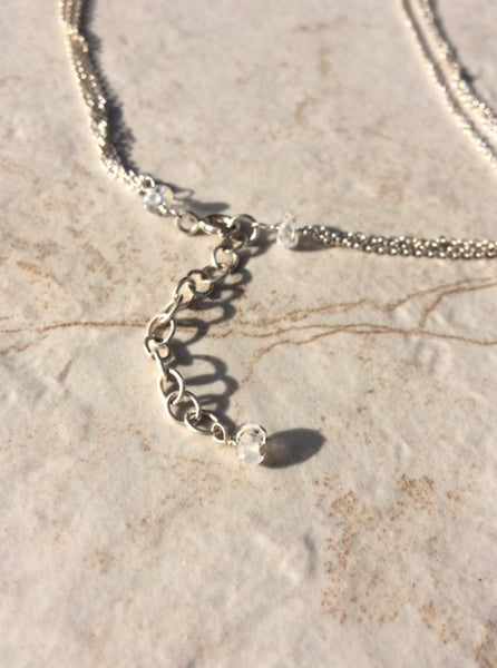 Sterling Silver Necklace Extender Chain with Rainbow Moonstone
