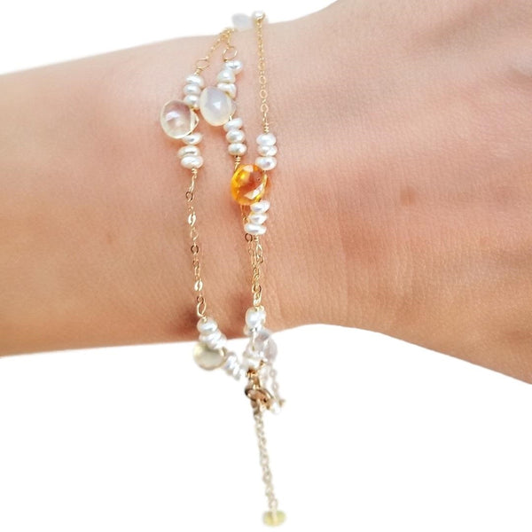 Saffron Bracelet with Opal, Pearl and Gold Chain, Multi-strand