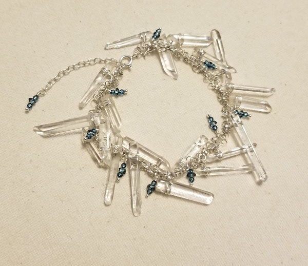 Icicles and Raindrops Bracelet with London Blue Topaz and Quartz Crystal Points