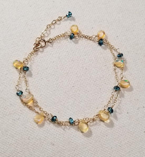 Multi Strand Bracelet w/ Welo Opal & London Blue Topaz
