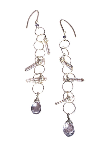 Silver drop earrings with quartz crystal, iolite and blue quartz