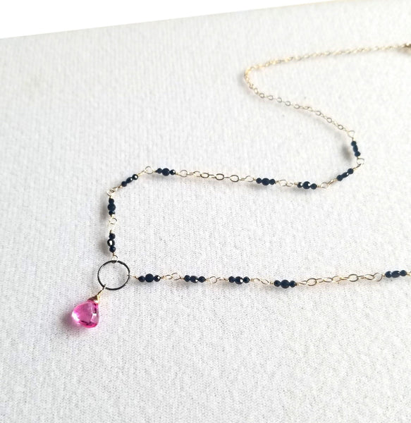 Topaz Rose Necklace with Black Spinel