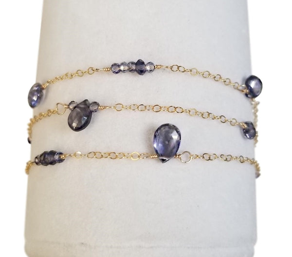 Blue Ocean Iolite Teardrop Bracelet with Gold Filled Chain