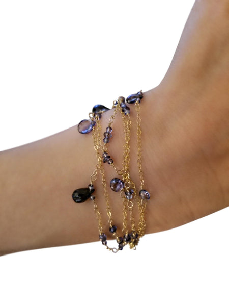 Multi-Strand Bracelet with Iolite Gemstone and Gold-filled Chain