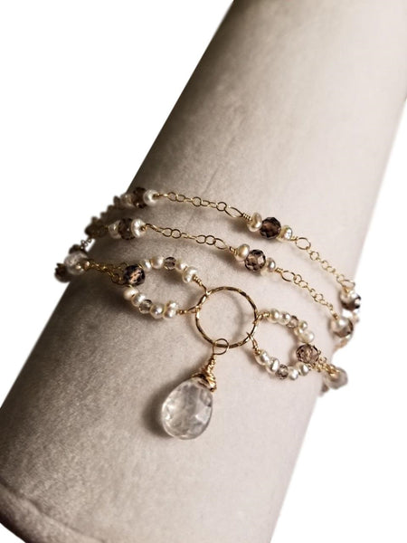 Triple Strand Bracelet with Smoky Quartz, Moonstone, Freshwater Pearls and Gold-fill Chain