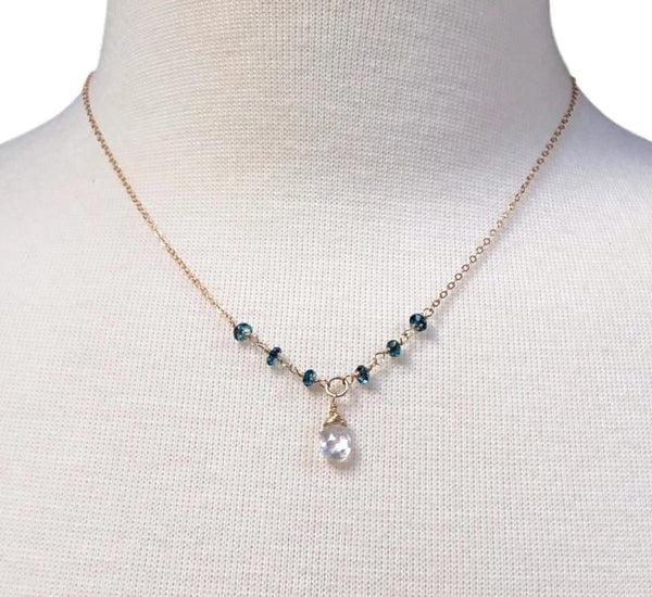 Rainbow Moonstone Necklace with London Blue Topaz