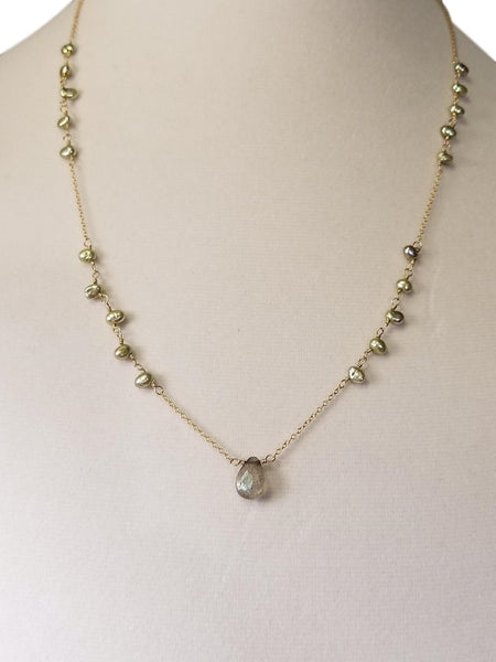 Mermaid Necklace with Green Pearls & Labradorite