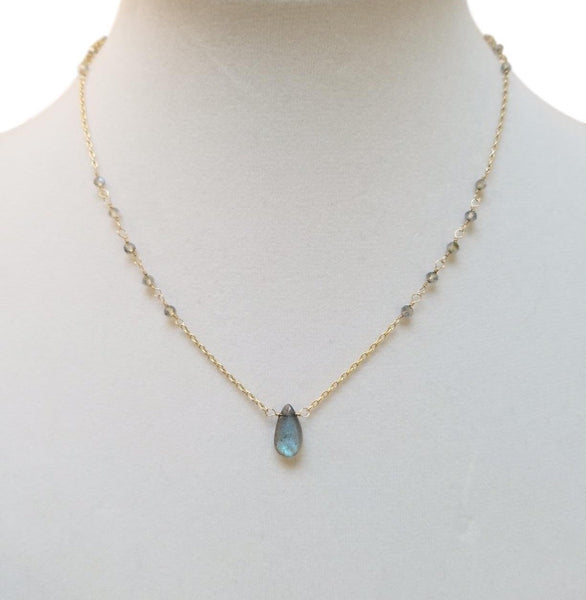 Labradorite Drop & Gold Princess Necklace