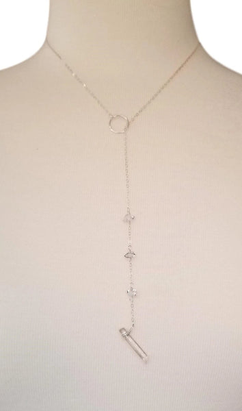 Lariat w/ Herkimer Diamonds & Quartz Crystal