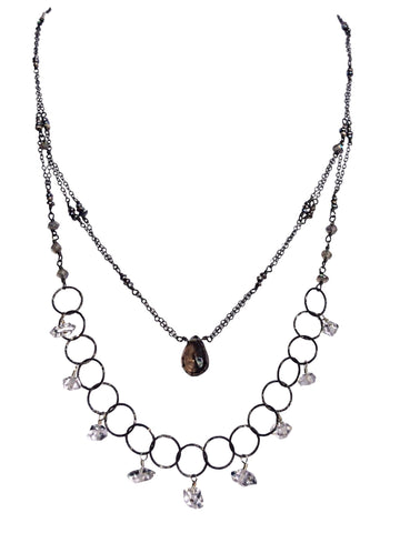Oxidized sterling silver necklace with Herkimer diamonds, labradorite gemstones and black pearls