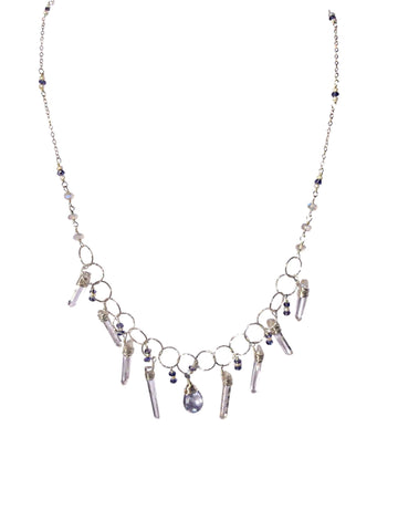 Sterling silver necklace with iolite, moonstone, pearl and blue quartz