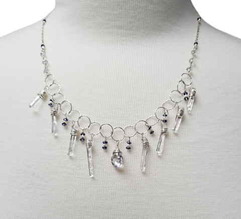 Silver Ice Chip Necklace w/ Blue Quartz & Iolite