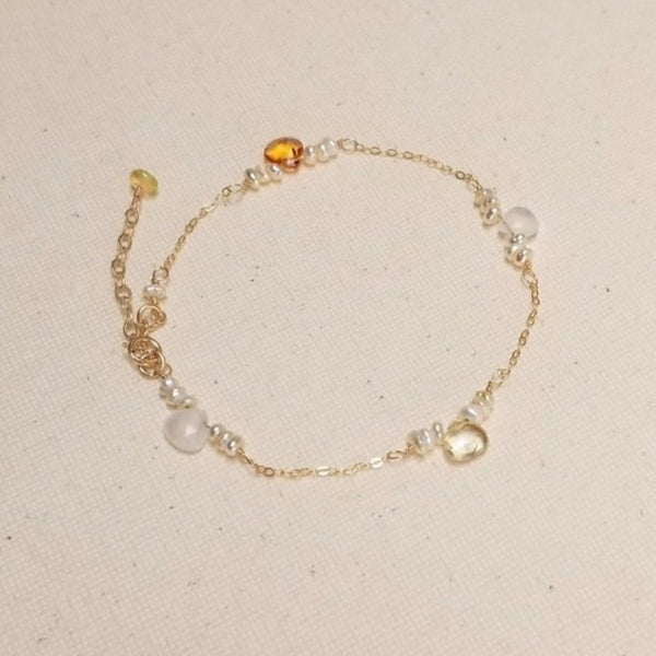 Saffron Bracelet with Opal, Pearl and Gold-filled Chain