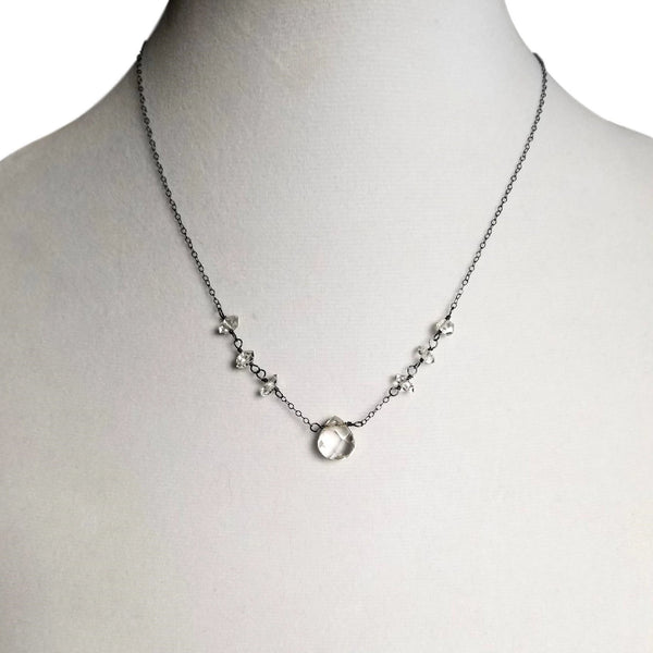 Teardrop Quartz and Herkimer Diamond Necklace with Oxidized Sterling Silver Chain