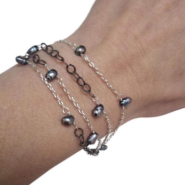 Gunmetal and  Silver Bracelet with Black Pearls